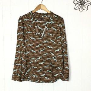 Zara cars pajama blouse L
